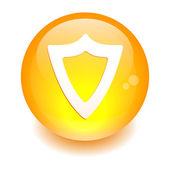 Bouton internet bouclier protection security — Stock Vector