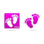 Logo dítě stopy ikony znamení — Stock vektor