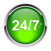 Button 24h 7h icon opened — Stock Vector