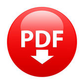 Bouton internet PDF downloading icon red — Stock Vector