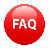 Bouton internet question FAQ icon red — Stock Vector