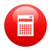 Bouton internet calculatrice finance icon red — Stock Vector