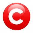 Bouton internet copyright icon red — Stock Vector