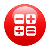Bouton internet calculatrice icon red — Stock Vector