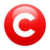значок авторского права интернет бутона красный — Cтоковый вектор