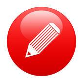 Bouton internet crayon icon red — Cтоковый вектор