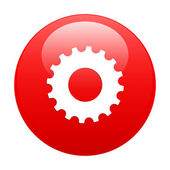 Button web settings icon red — Stock Vector