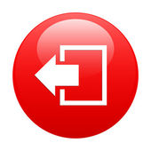 Salida botón desconectar el icono de internet rojo — Vector de stock