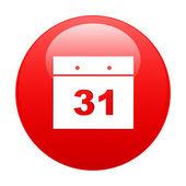 Button internet Calendar icon red — Stock Vector