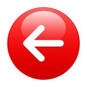 Button Left arrow red — Stock Vector
