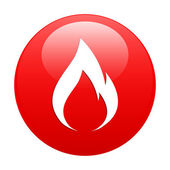 Button fire icon red — Stock Vector