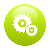 Button settings icon green — Stock Vector
