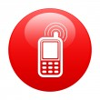Button cell phone icon red — Stock Vector #29633761