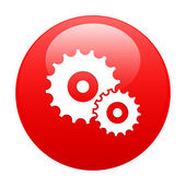 Button settings icon red — Stock Vector