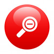 Button loupe magnifying glass icon red — Stock Vector