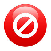 Button prohibited forbidden icon red — Stock Vector