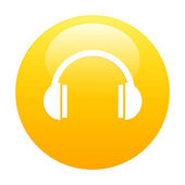 Bouton internet earphone icon orange — Stock Vector