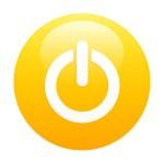 Bouton internet power icon orange — Stock Vector