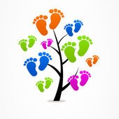 Logo business abstract tree eco baby traces — Stock Vector
