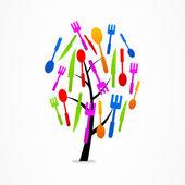 Arbre d'affaires logo Set de cuisine — Vecteur
