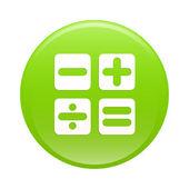 Bouton internet calculatrice icône verte signe — Vecteur