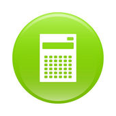 Bouton internet calculatrice finance icon green sign — Stockvector