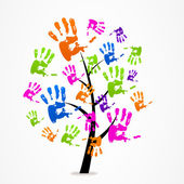 Logo business abstract tree hand sign — Stock Vector
