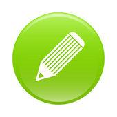 Bouton карандаш зеленый значок интернета — Cтоковый вектор