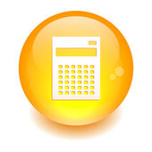Bouton internet calculatrice finance icon orange — Stock Vector