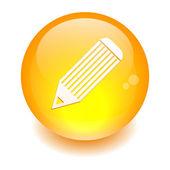 Bouton internet crayon icon orange — Stock Vector