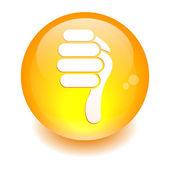 Bouton internet pouce bas orange — Stock Vector