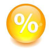 Bouton internet pourcentage icon orange — Stock Vector