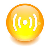 Bouton internet radio wifi orange — Stock Vector
