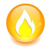 Button fire icon orange — Stock Vector