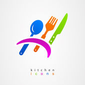 Kitchenware icon fork knife spoon menu sign — Stock Vector