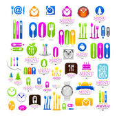 Kitchenware set business logo web icons — Vetor de Stock