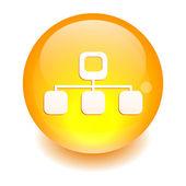 Button web Network Information icon orange — Stock Vector