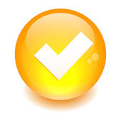 Button accept icon orange — Stock Vector