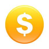 Bouton internet argent finance icon orange sign — Stock Vector