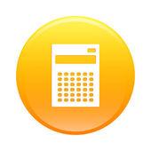 Bouton internet calculatrice finance icon orange sign — Stock Vector