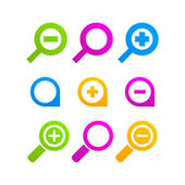 Loupe icon set web magnifier — Stock Vector