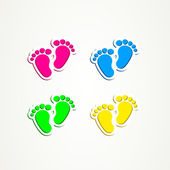 Baby footprints traces icon button — Stock Vector