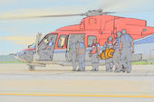 Color sketch of passenger embark helicopter — Stock Photo