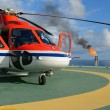 Helicopter park on oil rig — Stock Photo
