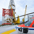 The helicopter park on oil rig — Stock Photo