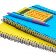 Yellow and blue note book calculator and pen — Stock Photo