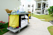 The hotel cleaning tool trolley — Stock Photo