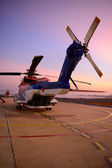 Offshore oil rig helicopter in the apron next to runway — Foto de Stock