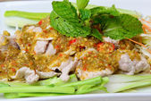 Boiled Pork with Lime Garlic and Chili Sauce (Moo Ma nao) — Stock Photo