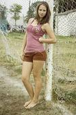 девушка футбол — Стоковое фото